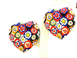 Vintage Heart shaped  Multi flower ceramic earrings gift Stocking Stuffer - $13.37