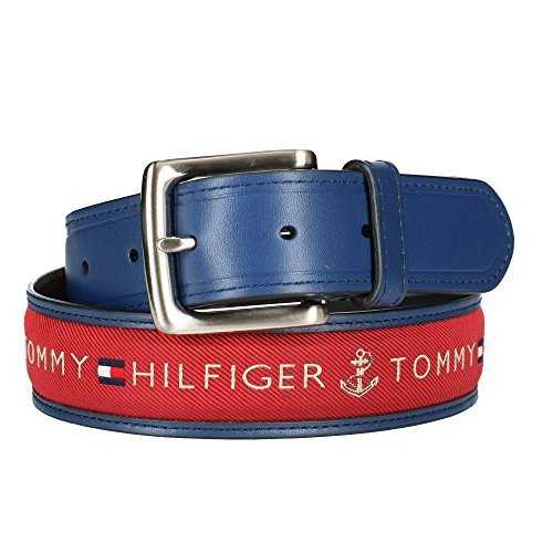 Tommy Hilfiger Men's Leather Casual Belt with Fabric Inlay, 32