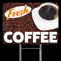 "Fresh Coffee  24"" x 18"" Double Sided Road Yard Sign: Heavy Duty Stake - $35.00"
