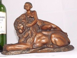 French Lion Lady Amour plaster from Loire Valley castle signed 1920 Art ... - $200.00