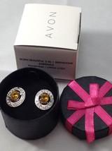 Avon Born Beautiful 2-IN-1 Birthstone Earring Yellow Citrine Color Novem... - $9.49