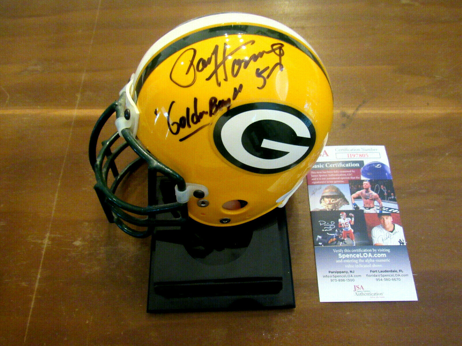 Primary image for PAUL HORNUNG # 5 GOLDEN BOY  GB PACKERS HOF SIGNED AUTO MINI RIDDELL HELMET JSA