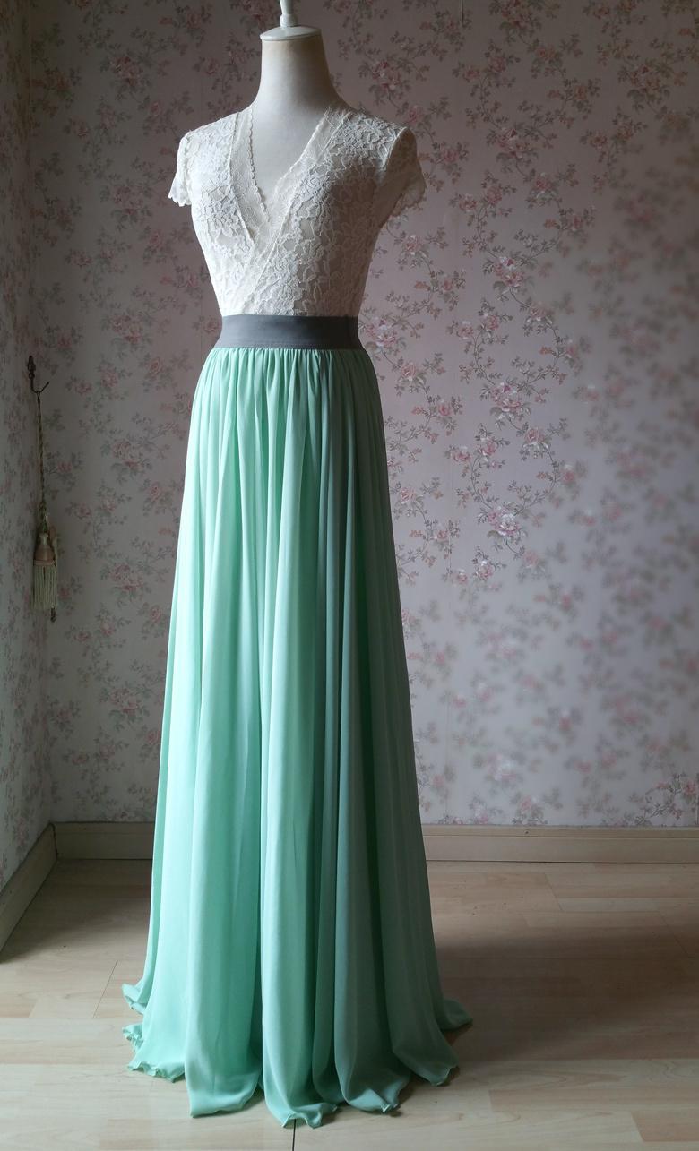 Sage green chiffon maxi skirt 1 780