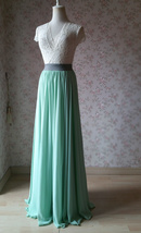 MINT GREEN Maxi Chiffon Skirts Mint Green Wedding Chiffon Skirt Plus Size image 3