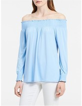 Calvin Klein Women Top L Off Shoulder Smocked Aqua Blue Long Sleeve Line... - $34.95