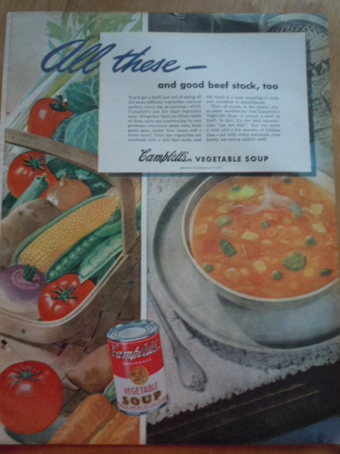 Vintage Campbell's Vegetable Soup Print Magazine Advertisement 1945 image 1