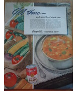 Vintage Campbell's Vegetable Soup Print Magazine Advertisement 1945 - $5.99