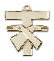 Franciscan 3/4 x 3/4 Inch 14kt Gold Cross Necklace Pendant - $899.99