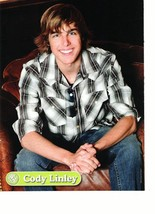 Cody Linley teen magazine pinup clipping brown leather chair Hannah Montana Bop