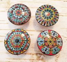 "1.5"" Mandala Knobs, 4 Red Blue Gold Mandala Knobs, Oriental Mandala Designs - $23.76"