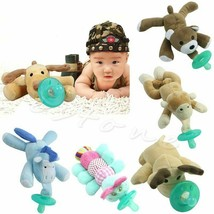 Infant Baby Soothie Silicone Pacifier Toddler Cuddly Plush Animal 0-12mo... - $11.55