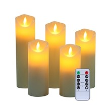 Set Of 5 Flameless Pillar Ivory Candles Moving Wick LED Timer Remote Con... - $19.73