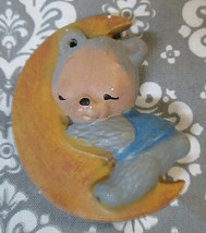 Vintage Teddy Bear Hugging the Moon Sleeping Ceramic Christmas Ornament? - $3.15