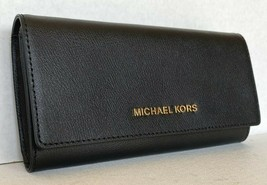 New Michael Kors Jet Set Travel Large Carryall wallet Leather Black - $65.00