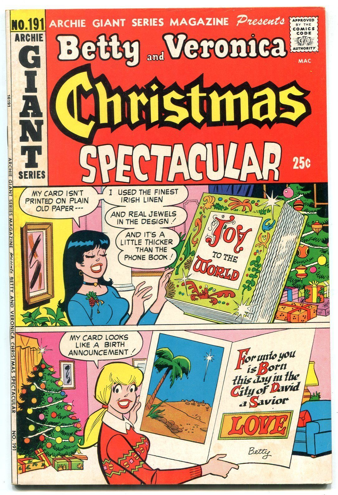 Betty and Veronica Christmas Spectacular- Archie Giant Series #191 1972 - $40.35