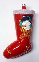 Vintage Glass Christmas Ornament  Boot/Stocking with HP Snowman - ITALY NOS - $24.99