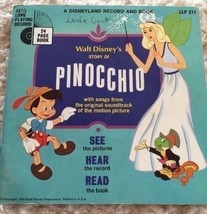 PINOCCHIO Disney Disneyland Record and Book 1966 33 1/3 Long Playing Vin... - $6.43