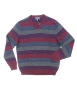 NEW MENS CLUB ROOM RED PLUM MULTI STRIPED KNIT COTTON V-NECK SWEATER - $5.99