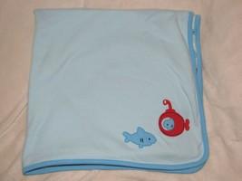 Gymboree 2014 Red Blue Submarine Shark Ocean Sea Fish Cotton Baby Blanke... - $49.48