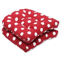 Pillow Perfect Indoor/Outdoor Red/White Polka Dot Wicker Seat Cushions, ... - £30.76 GBP