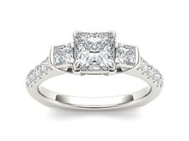 IGI Certified 14K White Gold 1.50Ct Princess Diamond Three Stone Engagem... - $3,369.99