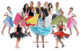 1950s ROCK N ROLL POLKA DOT SKIRT & SCARF,GIRLS/WOMENS,DANCE COSTUME/FAN... - £12.75 GBP+