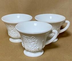 Vintage Milk Glass Tea Mugs Coffee Mugs with Grapes and Grape Leaves Set... - $11.88