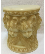 Pedestal Candle Holder Cherub Face Decorative Plant Display Stand Ivory ... - $14.10