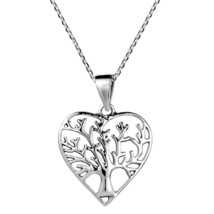 Romantic Heart Shape Tree of Life .925 Sterling Silver Necklace - $97.23
