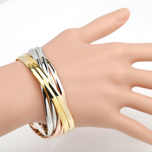 UE-Contemporary Multi Strand Tri-Color (Rose, Silver, Gold Tone) Bangle Bracelet - $19.99