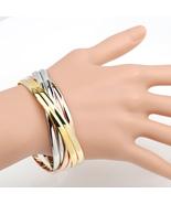 UE-Contemporary Multi Strand Tri-Color (Rose, Silver, Gold Tone) Bangle ... - $19.99