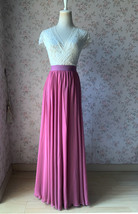 2021 Floor Length Chiffon Skirt High Waist Wedding Skirt Outfit Plum Plus Size  image 3