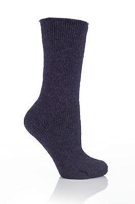 Ladies WOOL 2.7 Tog Original Thermal Heat Holders Socks 4-8,37-42 Purple