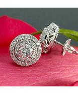 1.5CT Diamante Redondo Doble Fila Halo Dormilonas 14K Oro Blanco Sobre d... - $93.02