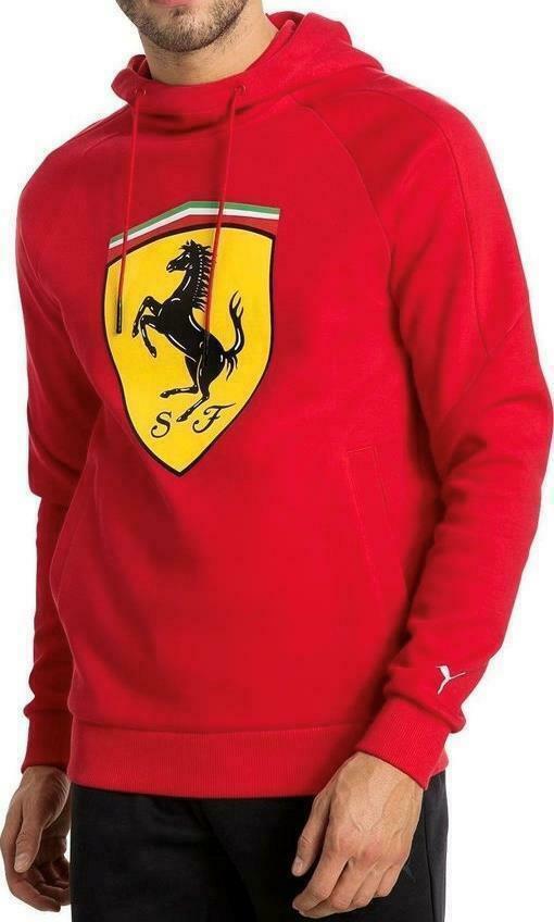 Puma Ferrari Men's Premium Sweater Track Jacket Big Shield Hoodie Red 76213401