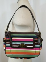 COACH 41852 LEGACY Small Multi Striped Sateen Handbag Turn Lock - $44.87
