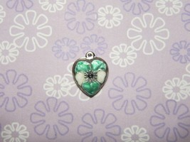 Vintage Sterling silver enameled puffy heart charm- GREEN & WHITE pansy - $29.00