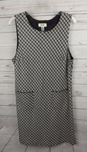 Talbots Shift Dress Size 14P 14 Petite Black White Print - $18.99