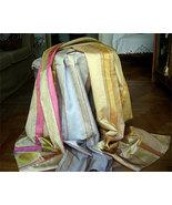 Vintage Shantung Silk Rayon Blend Striped Fabric Salesman's Samples NOS - $32.00