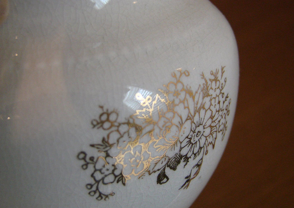 W.S. George vase with gold flower design
