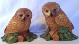 "Vtg Pair of Owls Statue Figurines 6 1/2"" Tall Bird Owl Statuettes MCM Decor - $11.64"