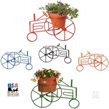 Farm Tractor Plant Stand -Wrought Iron Flower Pot Holder In 5 Colors Usa Made - $59.97