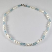 Necklace White Gold 18K with White Pearls and Aquamarine Faceted image 1