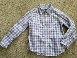 CARTER'S Blue & Pink Plaid Long Sleeved Button Front Shirt Boys Size 5T - $3.66