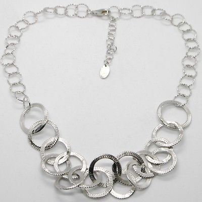 925 STERLING SILVER NECKLACE, FINELY WORKED CIRCLES MADE IN ITALY BY MARIA IELPO