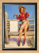 Gil Elvgren Target Practice Cow Girl Retro Pin Up A4 Print Photo Poster Sexy Art - $11.95