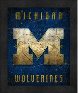 "Michigan Wolverines ""Retro College Logo Map"" 13x16 Framed Print  - $39.95"