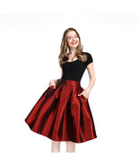 Women Midi Pleated Skirt A-Line Ruffle Taffeta Skirt Outfit - Burgundy,Plus Size - $39.99