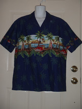 Ky's Black Woody Wagon Surfs Up Hawaiian Camp Shirt XL Made in Hawaii USA - $37.08