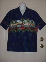 Ky's Black Woody Wagon Surfs Up Hawaiian Camp Shirt XL Made in Hawaii USA - $37.08
